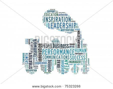 Conceptual text word cloud metaphor for business, team, teamwork, management