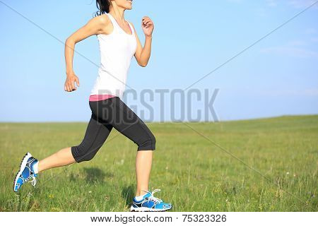Runner athlete running on grass seaside. woman fitness jogging workout wellness concept.