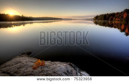 Lake In Autumn Sunrise Reflection