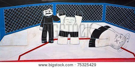 Street art Montreal kick boxing