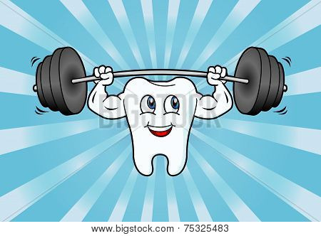 Cartoon Tooth Character Lifting Weights.eps