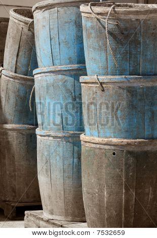 Old Faded bluish buckets.