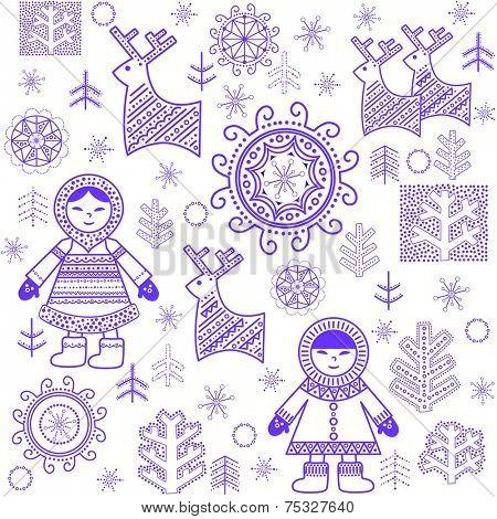 Winter print with Eskimo. Raster copy