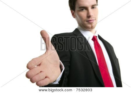 Businessman Handshake Open Hand Positive