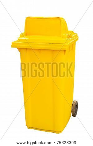 Yellow Garbage Bins White Background