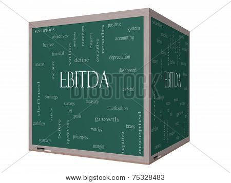 Ebitda Word Cloud Concept On A 3D Cube Blackboard