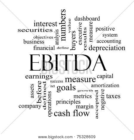 Ebitda Word Cloud Black And White Concept