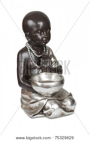 Black young buddha isolated over white with clipping path