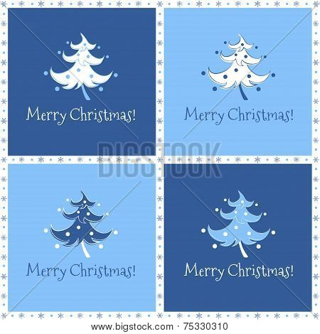 Four variations of christmas card with dancing christmas tree