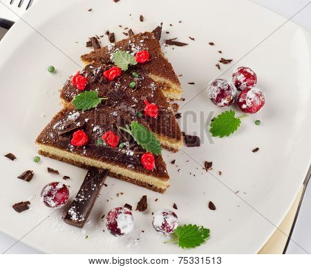 Sweet Christmas Tree Made Of  Chocolate Cake