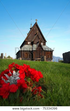 Old Traditional Norwegian wooden church in Reinli, Sør-Aurdal