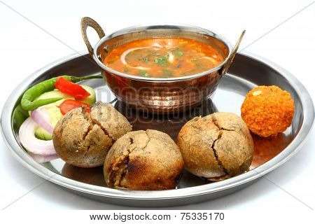 Traditional Rajasthani Food Daal Baati. Indian Food. Dal Bati.