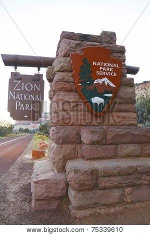 Entrance to Zion National Park, Utah USA