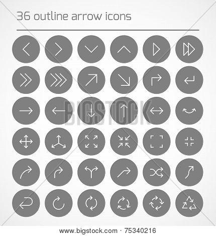 Set of outline arrow icons