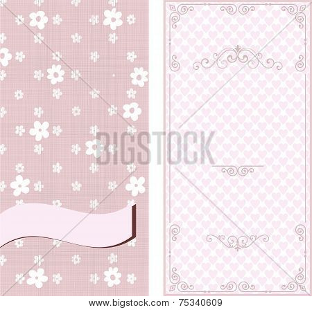 Set Of Invitation Cards On Vintage Floral Background