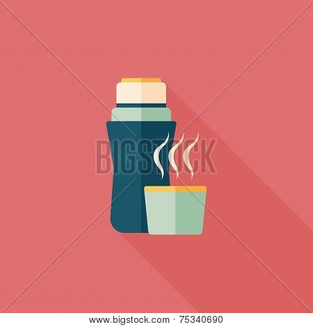 Vacuum Flask Flat Icon With Long Shadow,eps10, Hot Water Bottle