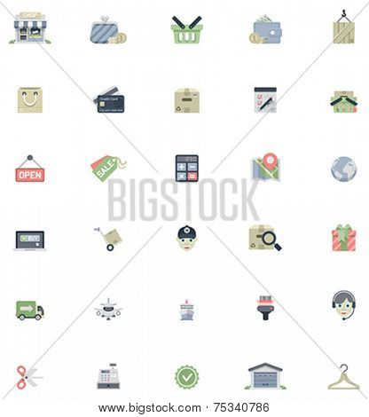 Set of the shopping related icons