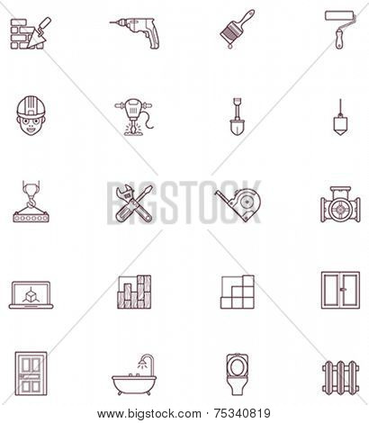 Set of the construction and renovation related icons