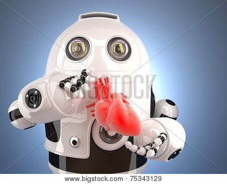 Robot With Human Heart In The Hands. Technology Concept. Contains Clipping Path.