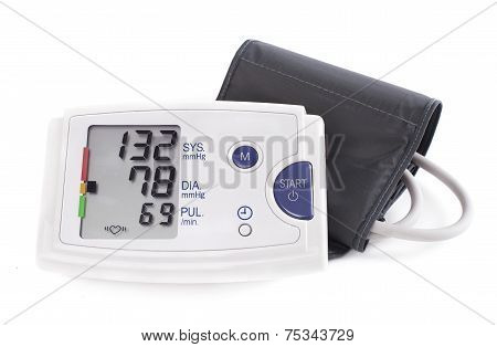 Hypertension Digital Blood Pressure Monitor - Tonometer. Stock Image