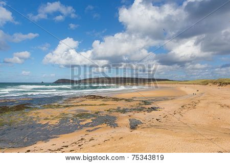 Sandy beach Constantine Bay Cornwall England UK Cornish north coast