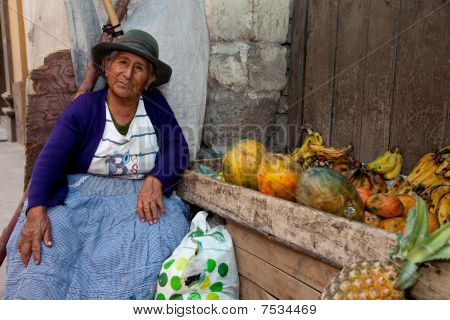 Saleswoman on Market, South America