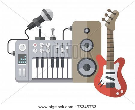 Music Tools In Flat Style: Guitar, Synthesizer, Microphone, Speaker
