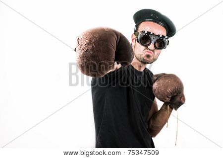 Man Boxing Shot On White Background