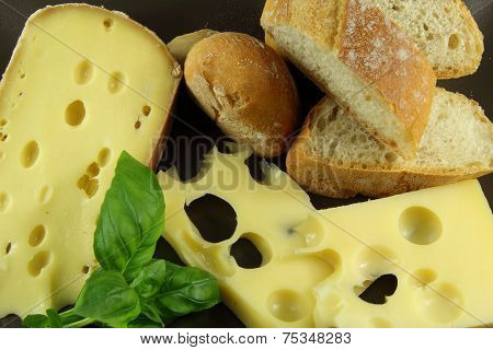 Bread, cheese and basil