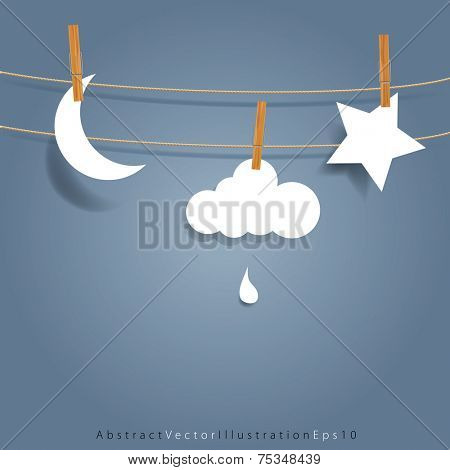 vector original symbolic abstract illustration with moon, cloud and star on rope