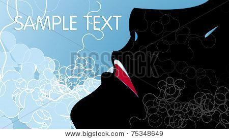 Silhouette Of A Human Face On The Abstract Blue Background