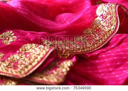 Indian bandhej saree cloth fabric texture
