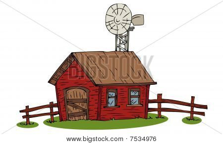 Farm house with windmill.