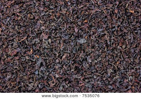Detailed Black Tea Leaf Texture Background