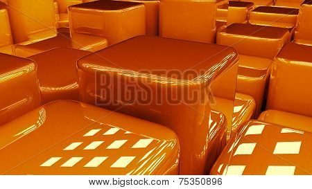 Modern abstract background blueish cubes, background of 3d glossy shiny blocks, orange box, 3d rende