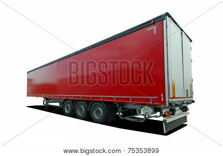 red truck semi trailer