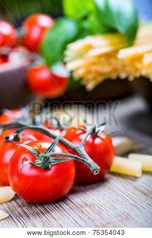 Some ingredients of Italian cuisine.