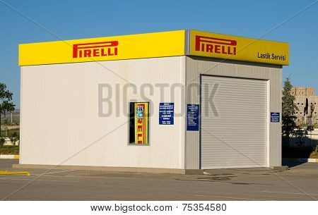 Ankara, Turkey - June 17, 2012: Pirelli tire change station on a clear day.