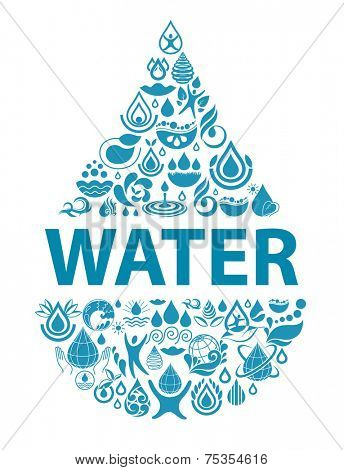 Conceptual background of pure water. Set of water icons and design elements.