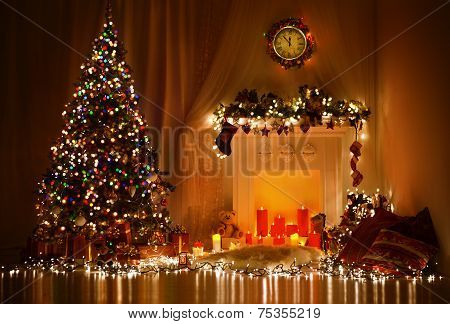 Christmas Room Interior Design, Xmas Tree Decorated By Lights Presents Gifts Toys, Candles Garland