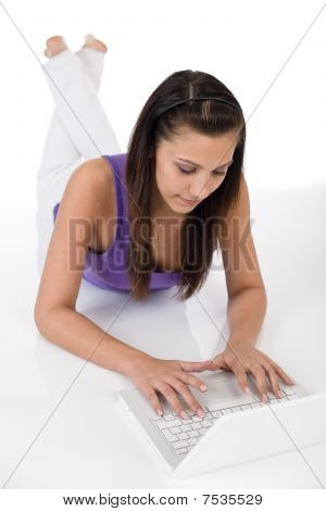 Student - Teenager Woman With Laptop