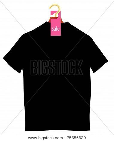 Illustration - Wooden Coat Hanger With Sale Tag And T-shirt