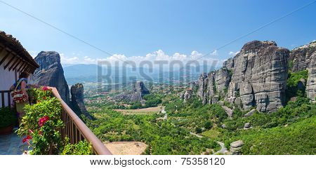 Greece, Meteors, Greece, Meteora, The View From The Observation Deck Of The Monastery Of St. Barbara