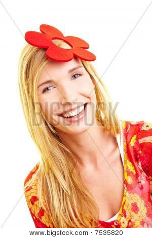 Woman With Fake Flower In Her Hair