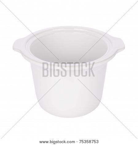 Opened ceramic steam pot on white background.