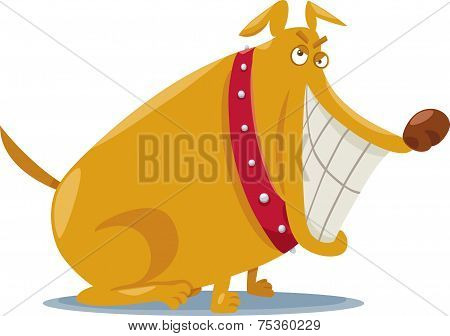 Funny Bad Dog Cartoon Illustration