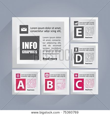 Infographics background with white cubes containing area for your text and icons