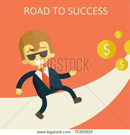 cheerful businesswoman walking along the road towards success.