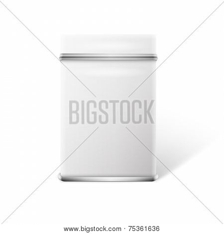 White square tin packaging