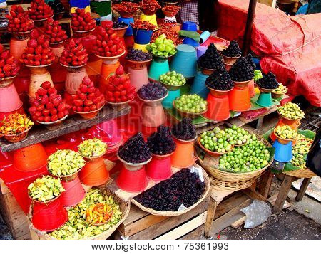 Colorful fruit and vegetable market in Mexico.